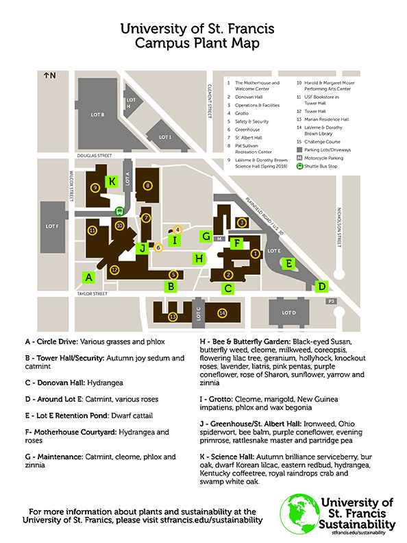 university of st francis campus map Campus Sustainability University Of St Francis