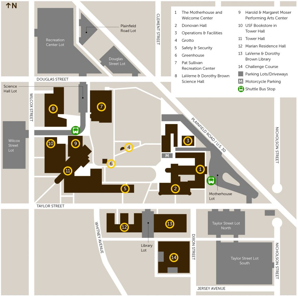 university of st francis campus map Main Campus University Of St Francis