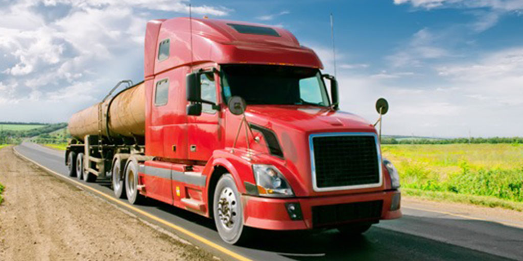 red semi truck in supply chain management