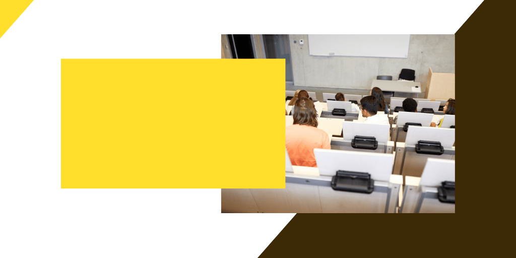 brown and gold images with students in classroom