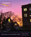2020-21 Issue 2 magazine cover with sunset behind Guardian Angel Hall